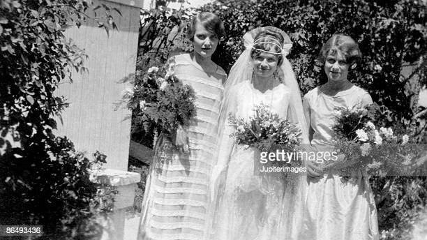 Vintage image of bride with bridesmaids