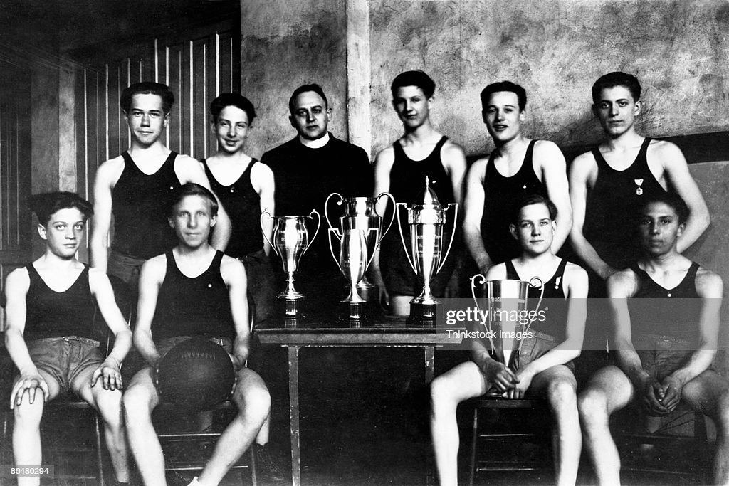Vintage image of Catholic basketball team