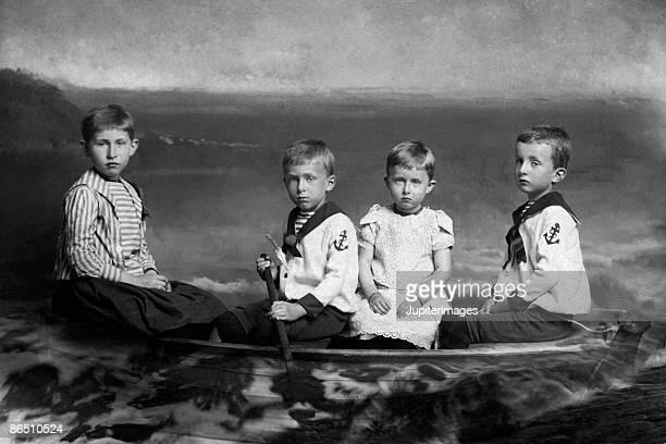 Vintage image of children in rowboat
