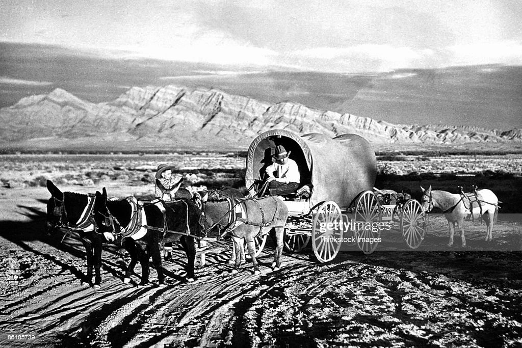 Vintage image of covered wagon