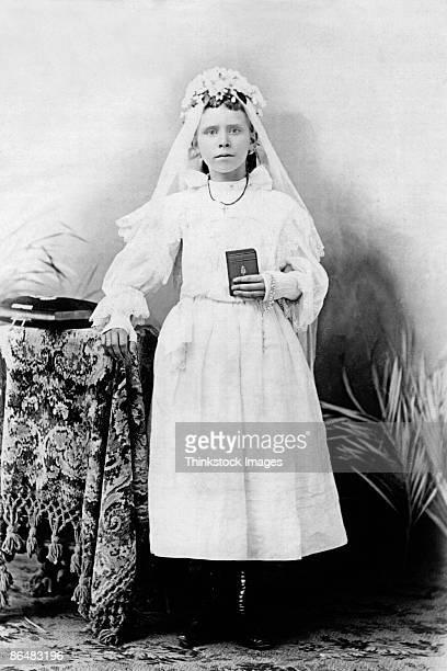 Vintage image of girl in communion dress