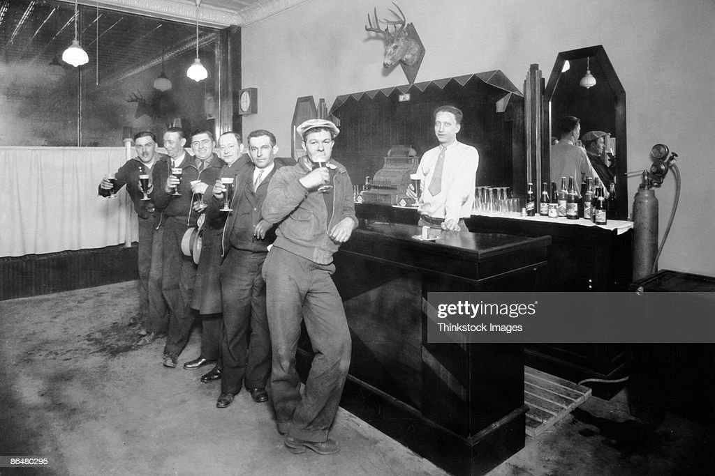 Vintage image of men in bar
