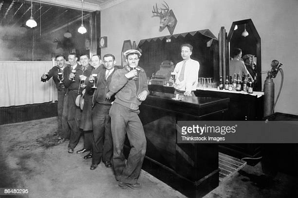 Vintage image of men in bar