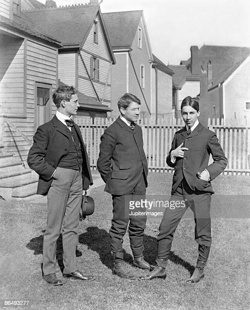 Vintage image of men standing outside