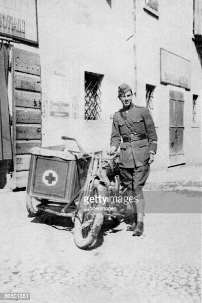 Vintage image of soldier with motorcycle