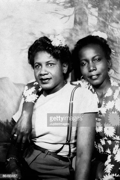 Vintage image of two women posing together
