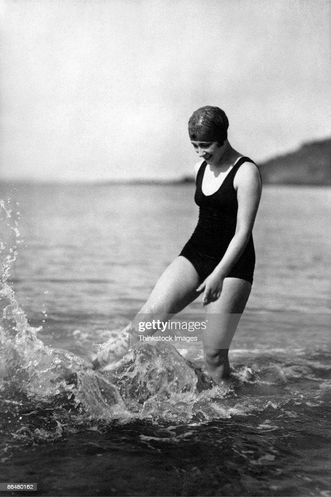 Vintage image of woman in ocean