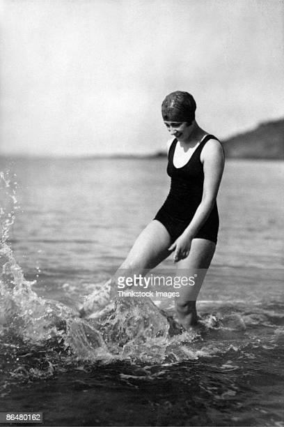 Vintage image of woman in ocean