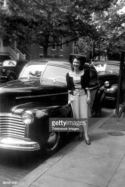 Vintage image of woman with car