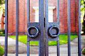 Harvard University's iron gate in Cambridge, Massachusetts, USA
