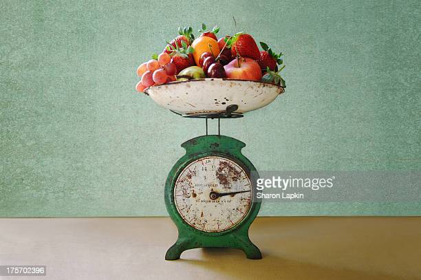 Vintage kitchen scales with fruit