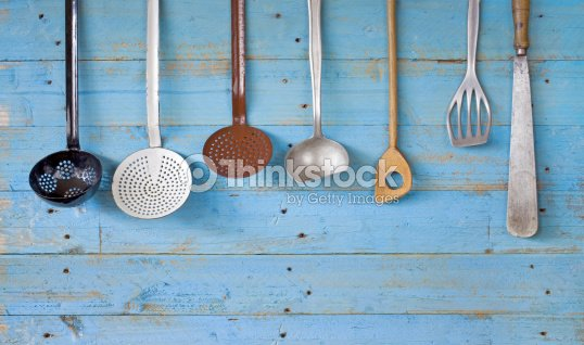 Vintage utensilios de cocina y espacio de copia foto de for Utensilios de cocina vintage