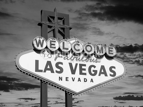 vintage las vegas welcome sign in black in white stock. Black Bedroom Furniture Sets. Home Design Ideas