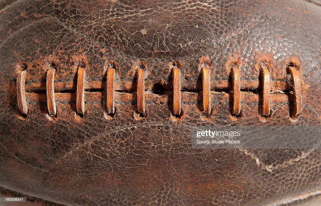 Vintage Leather Football. Detail of early leather football lacings.