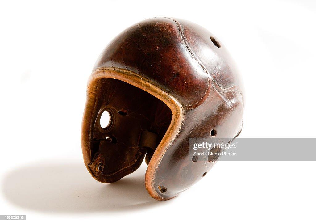 Vintage Leather Football Helmet. Vintage turtle back style leather football helmet.