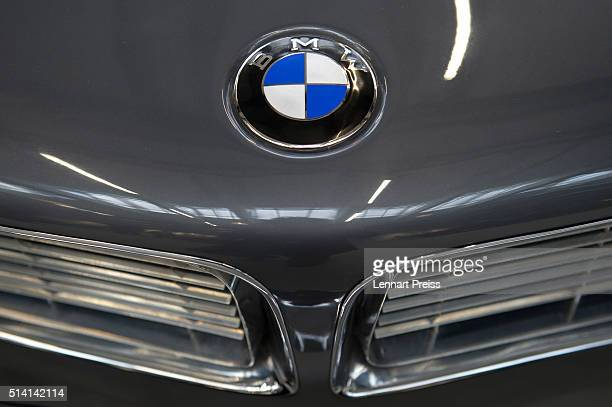 A vintage logo of German automaker BMW in seen during the celebration marking the 100th anniversary of BMW on March 7 2016 in Munich Germany BMW...
