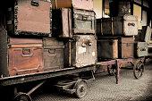 Vintage Luggage on a Railway Platform.