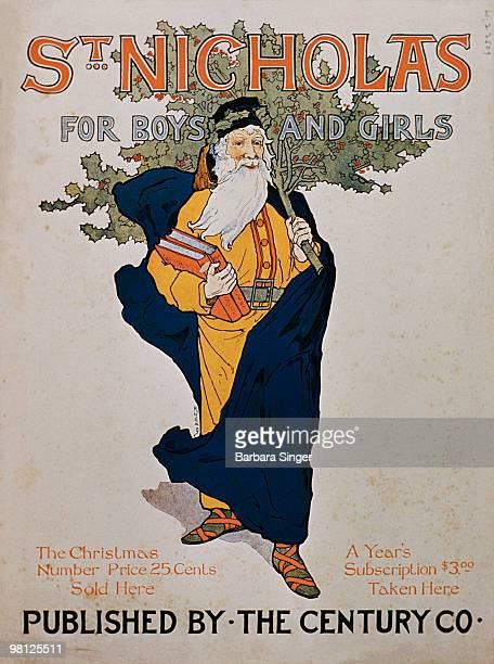 Vintage magazine cover of Saint Nicholas carrying Christmas tree