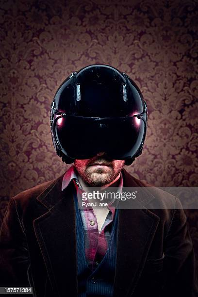 Vintage Man with Futuristic Helmet