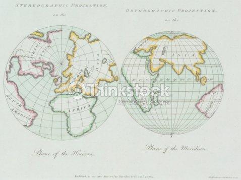 Vintage Map Of Eastern Hemisphere And North Pole Stock Photo ...
