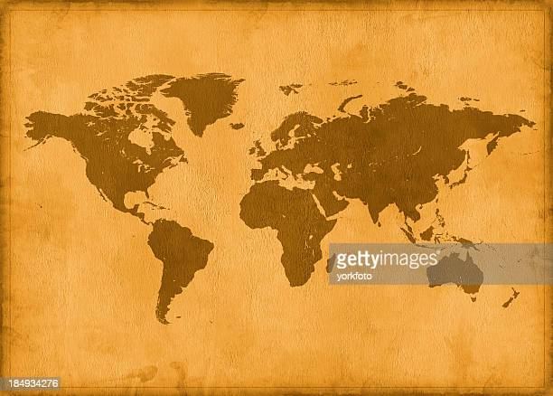 Vintage map of the world in brown coloring
