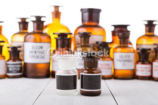 Vintage Medicine Bottle With Blank Label Stock Photo