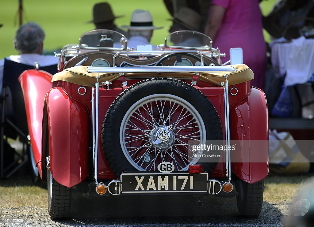 A vintage MG is parked during the The Veuve Clicquot Gold Cup for the British Open Polo Championship Final between Dubai and Zacara at Cowdray Park Polo Club on July 21, 2013 in Midhurst, England.