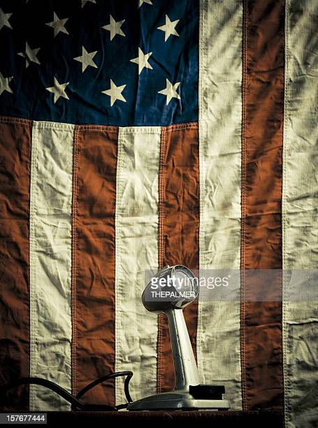 vintage microphone and american flag