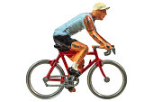 Vintage miniature sport cyclist isolated on a white background