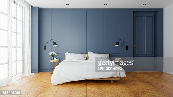 Vintage Modern  interior of  bed room, wood  bed  with wall lamp on  parguet flooring and dark blue  wall  ,3d rendering : Stock Photo