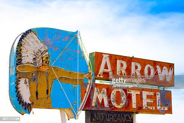 Vintage Motel Sign with Native American Image, New Mexico