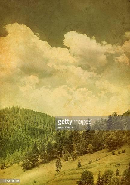 vintage mountain scene