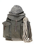 Vintage mountaineering backpack with hat