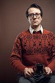 Vintage Nerd With Reindeer Sweater