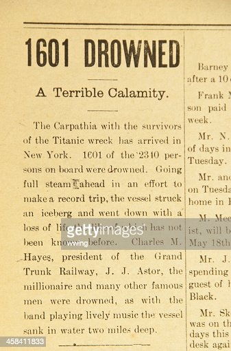 Vintage Newspaper Article ... The Titanic