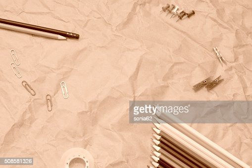vintage office, background in sepia tone : Stock Photo