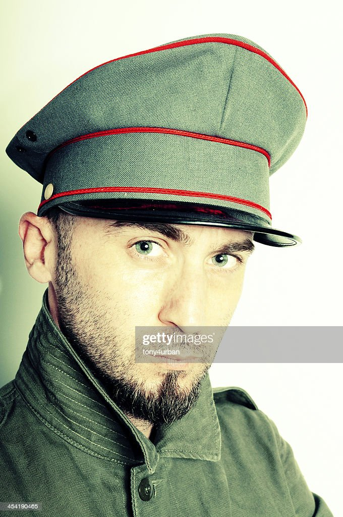 vintage officer : Stock Photo