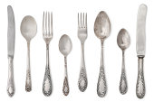 vintage old cutlery isolated on white background