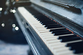 Vintage old piano. Close-up of keyboard keys