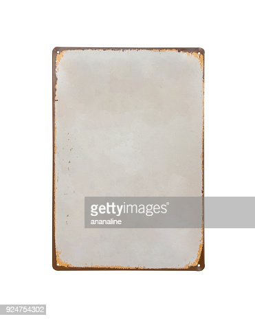 vintage old white Sheet metal banner isolate on white background : Stock Photo
