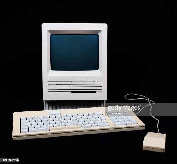 Vintage old-fashioned computer, keyboard and mouse set