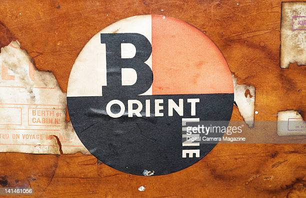 A vintage Orient Line luggage sticker at Didcot Railway Centre in Oxfordshire taken on August 19 2009
