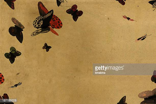 vintage paper butterflies background