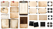 vintage paper sheets, book, old photo frames and corners, antique clipboard isolated on white background.