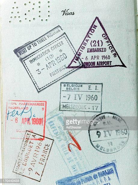 Vintage de timbres de passeport