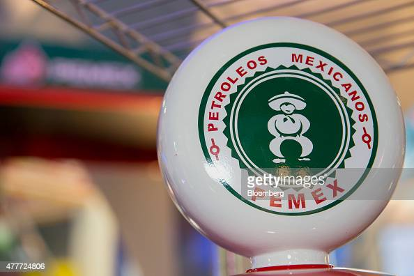 A vintage Petroleos Mexicanos fuel pump is displayed during the Onexpo 2015 convention and expo in Mexico city Mexico on Thursday June 18 2015...