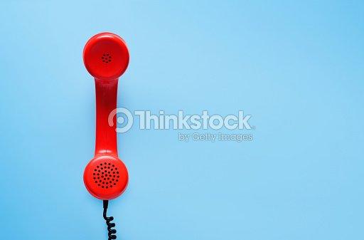 Vintage phone, flat lay. : Stock Photo