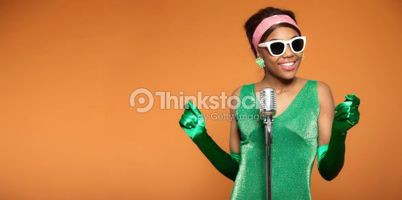 b5302d0ac262 Vintage Photo Of An African Soul Funk Woman Singing Stock Photo ...