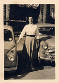 Vintage photo - Woman and Cars