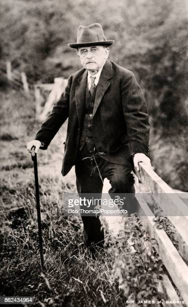 A vintage photograph featuring the Scottish dramatist and novelist JM Barrie circa 1935